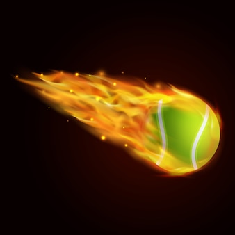 Tennis ball with fire effect illustration