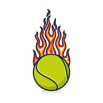 Tennis ball with flame on white background