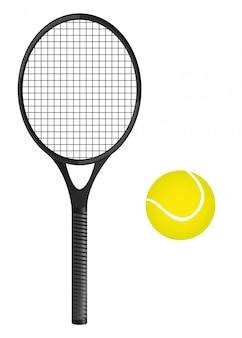 Tennis ball with racket over white background vector