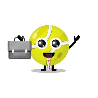 Теннисный мяч работает милый талисман персонажа