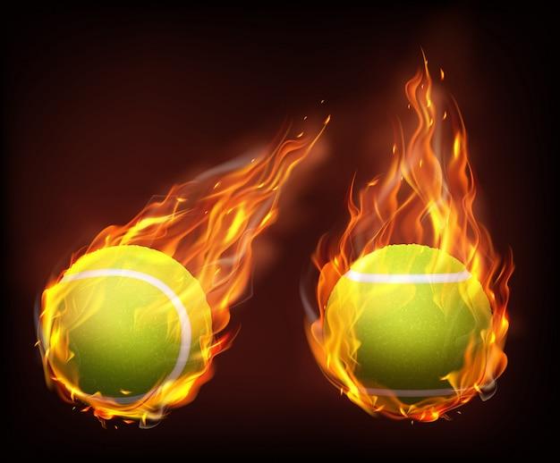 Palline da tennis che volano nel vettore realistico delle fiamme