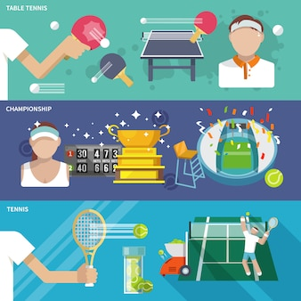 Tennis banner set Free Vector