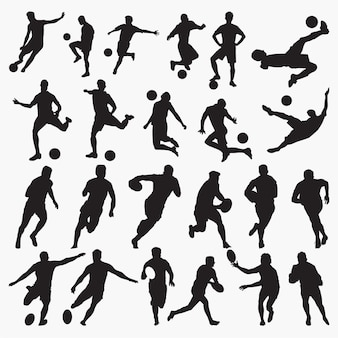 Tennis basketball silhouettes