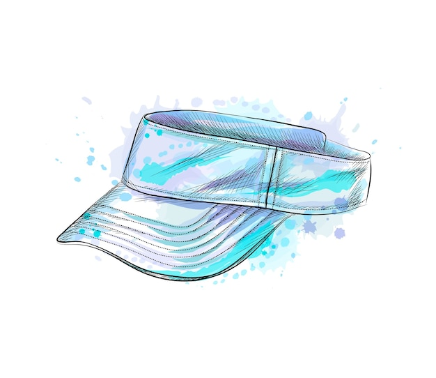 Tennis cap, visor cap from a splash of watercolor, hand drawn sketch.  illustration of paints