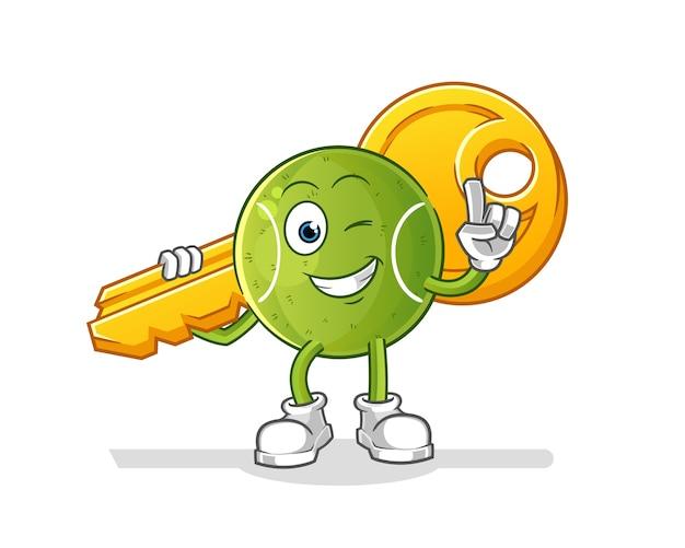 Tennis carry the key mascot. cartoon