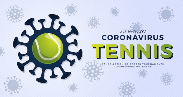 Теннис осторожен, коронавирус. остановить вспышку. опасность коронавируса и риска для здоровья населения и вспышки гриппа. отмена концепции спортивных мероприятий и матчей