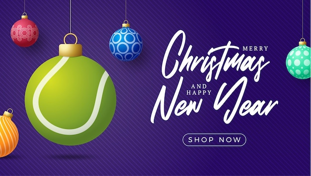 Tennis christmas card. merry christmas sport greeting card. hang on a thread tennis ball as a xmas ball and colorful bauble on purple horizontal background. sport vector illustration.