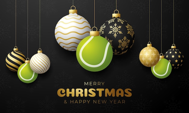Tennis christmas card. merry christmas sport greeting card. hang on a thread tennis ball as a xmas ball and golden bauble on black horizontal background. sport vector illustration.
