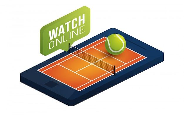 電話画面オンラインコンセプトアイソメ図にテニスクレイコート。オンラインテニス等尺性概念。