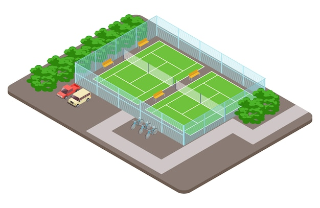 Tennis club playgrounds with parking isometric  concept