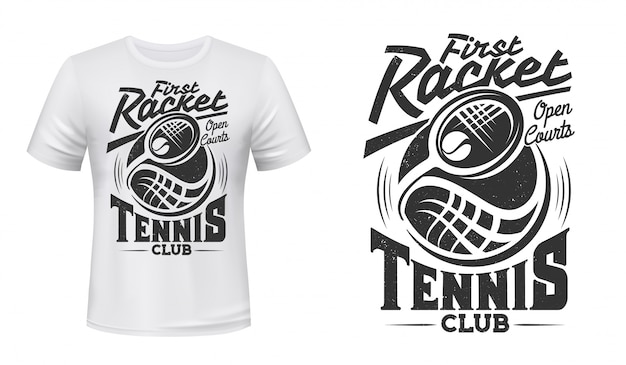 Tennis club racket and ball vector t-shirt print