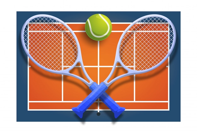 Tennis club racket cross ball on orange court game competition  illustration