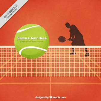 Tennis court background with tennis player silhoutte