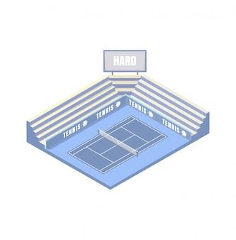 テニスコート、合成ハードカバー、青い等尺性プラットフォーム