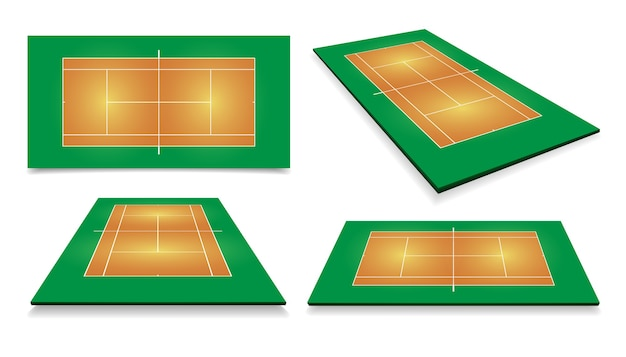 Tennis court . top view and different perspective