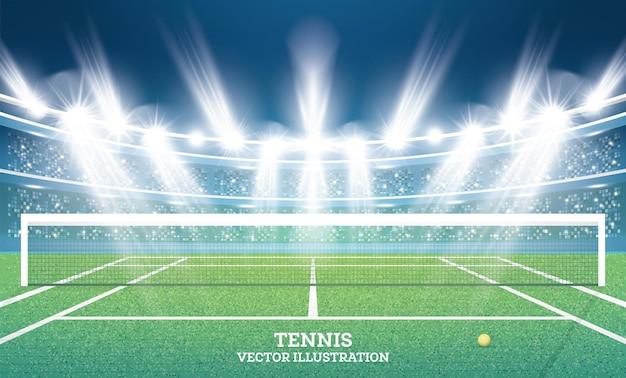 緑の草とスポットライトのあるテニスコート。図。