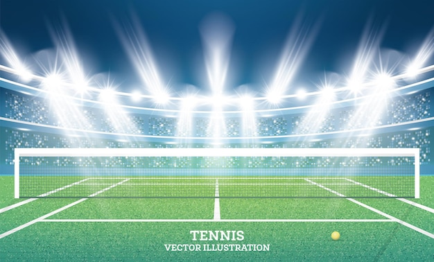 Tennis court with green grass and spotlights.  illustration.