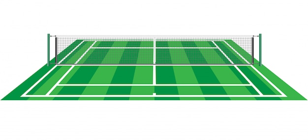 Tennis court with net vector illustration