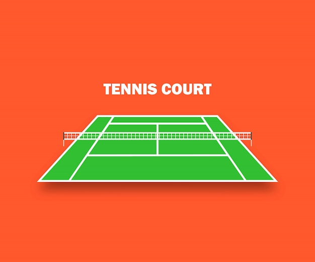 Tennis court, and with shadow. a vector illustration