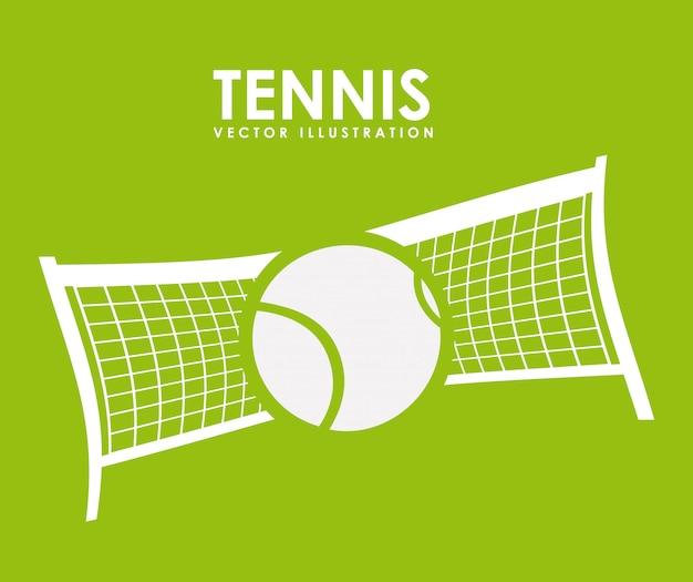 Теннисный дизайн на зеленом фоне, векторная иллюстрация