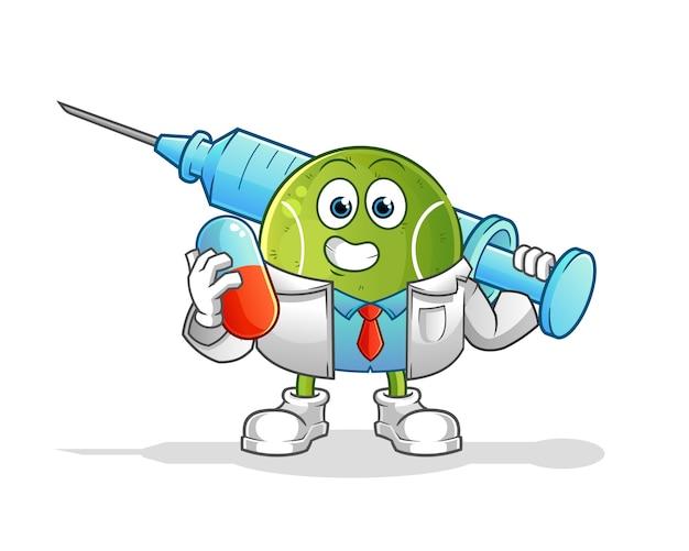 Теннисный врач держит лекарство и инъекции. мультипликационный персонаж