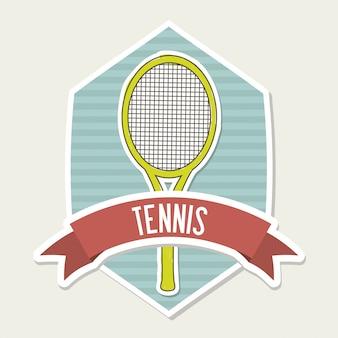 Tennis emblem over cream background vector illustration