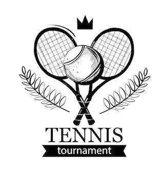 テニスのエンブレム。テニスラケット。テニスボール。テニスクラブ、テニススクール、トーナメント。ロゴデザイン。