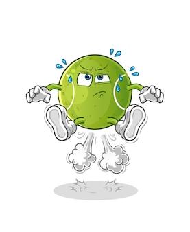 Tennis fart jumping illustration. character