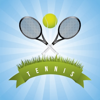 Tennis frame over sky background vector illustration