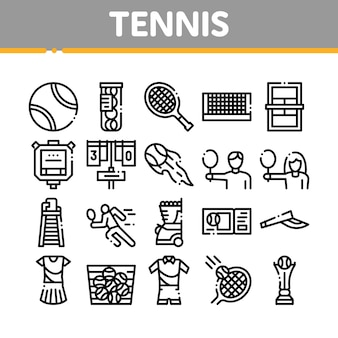 Tennis game equipment collection icons set