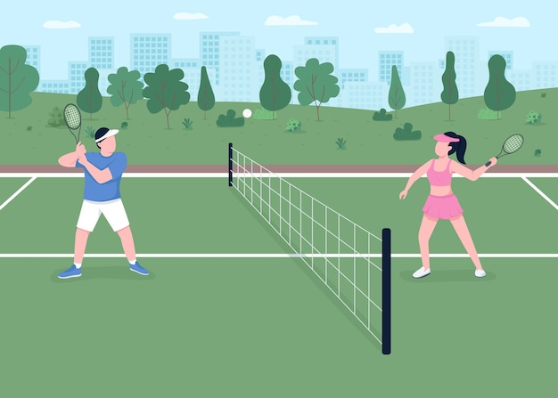Tennis game flat color illustration. outdoor courts for tournament match. active lifestyle. player hit ball over net. athlete couple 2d cartoon characters with landscape on background