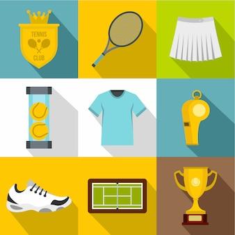 Tennis icon set, flat style