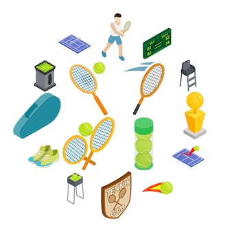 Tennis icon set, isometric style