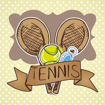 Tennis icons over beige background vector illustration