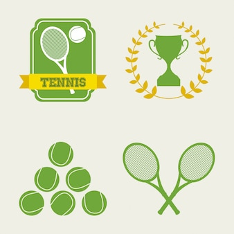 Tennis icons over cream background vector illustration