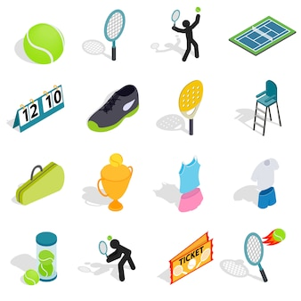 Tennis icons set in isometric 3d style. tennis attributes set collection vector illustration