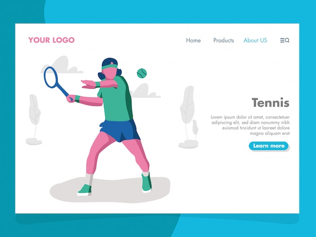 Tennis illustration for landing page