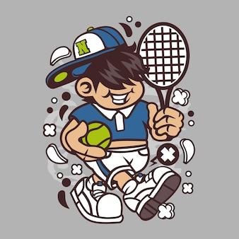 Tennis kid cartoon