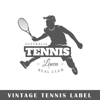 흰색 배경에 고립 된 테니스 레이블