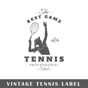 白い背景の上のテニスラベル。素子。ロゴ、看板、ブランディングのテンプレートです。図