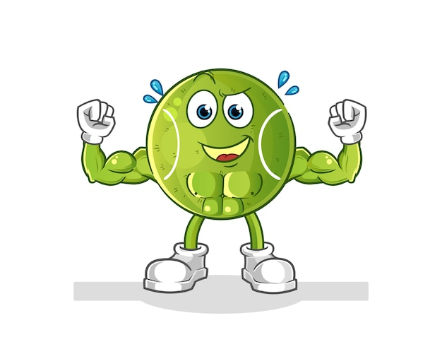 Tennis muscular cartoon. cartoon mascot