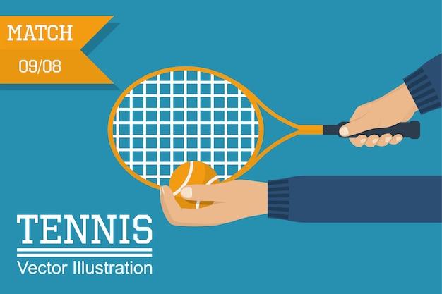 Теннисист держит ракетку и мяч, готовясь к удару. человек играет в спортивную игру.