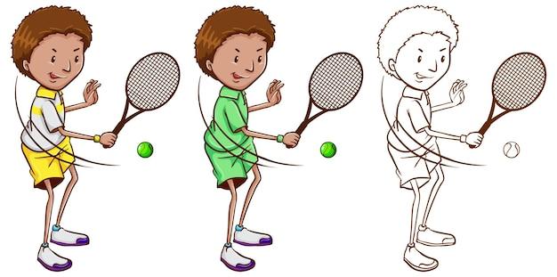 3つのスケッチのテニス選手