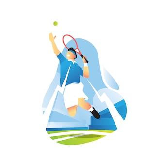 Теннисист высоко прыгает, чтобы ударить по мячу