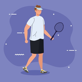 Tennis player with racket on purple background