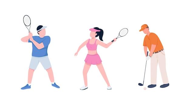 テニスプレーヤーは、フラットカラーの顔のない文字セットをカップルします。ラケットを持つスポーツマンとスポーツウーマン。 webグラフィックデザインとアニメーションコレクションのスポーツ分離漫画イラスト