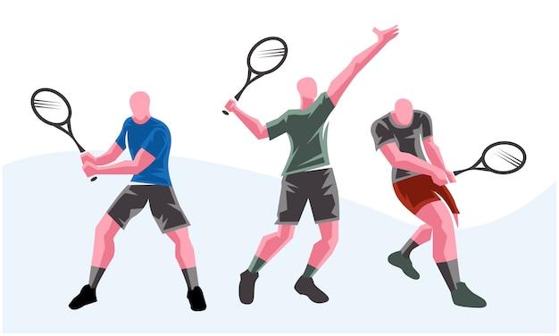 さまざまなポーズのテニス選手。スケーラブルで編集可能なイラスト