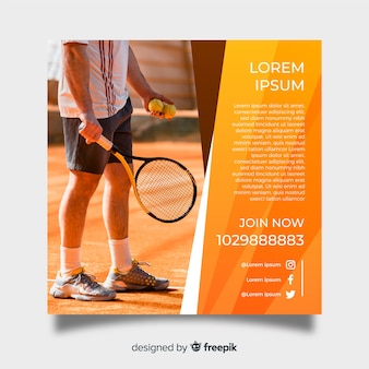 Tennis poster template with photo