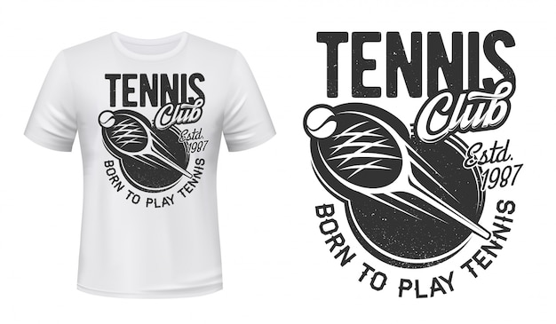 Tennis  print, sport club game badge