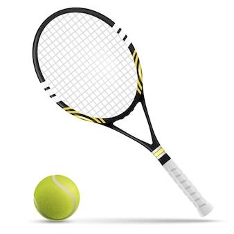 Теннисная ракетка и мяч
